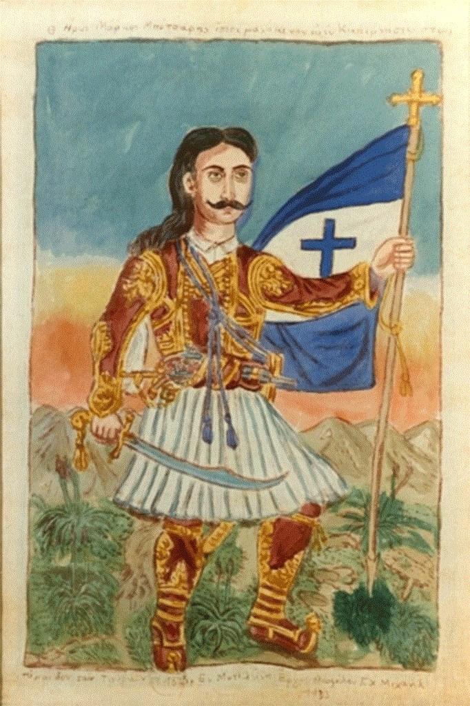 Μάρκος Μπότσαρης, πίνακας του Θεόφιλου