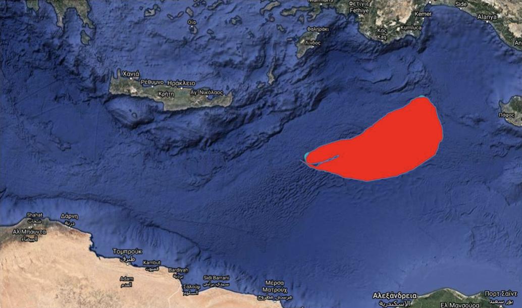 Ο χώρος που δεσμεύει η παράνομη τουρκική NAVTEX: