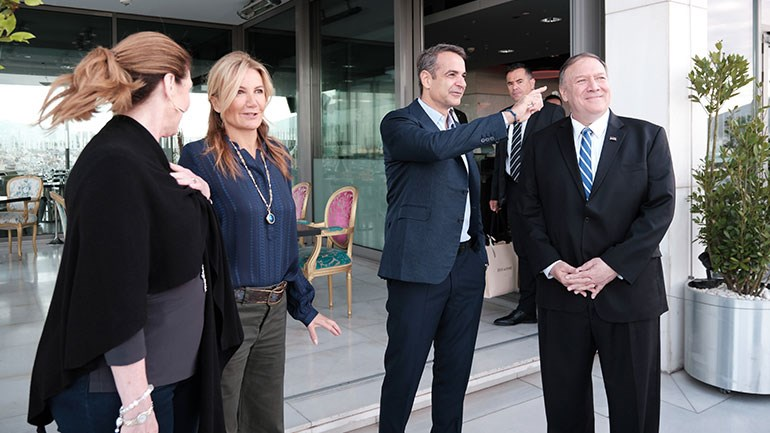 Στιγμιότυπο από την επίσκεψη του Μ. Πομπέο στην Αθήνα, τον Οκτώβριο 2019