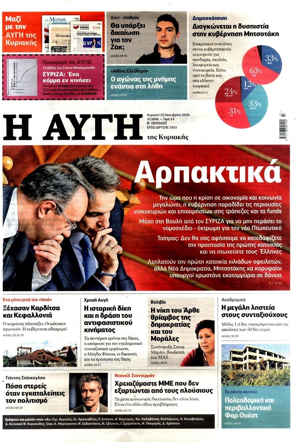 ΕΔΩ: Τα πρωτοσέλιδα των σημερινών Κυριακάτικων εφημερίδων (pic)