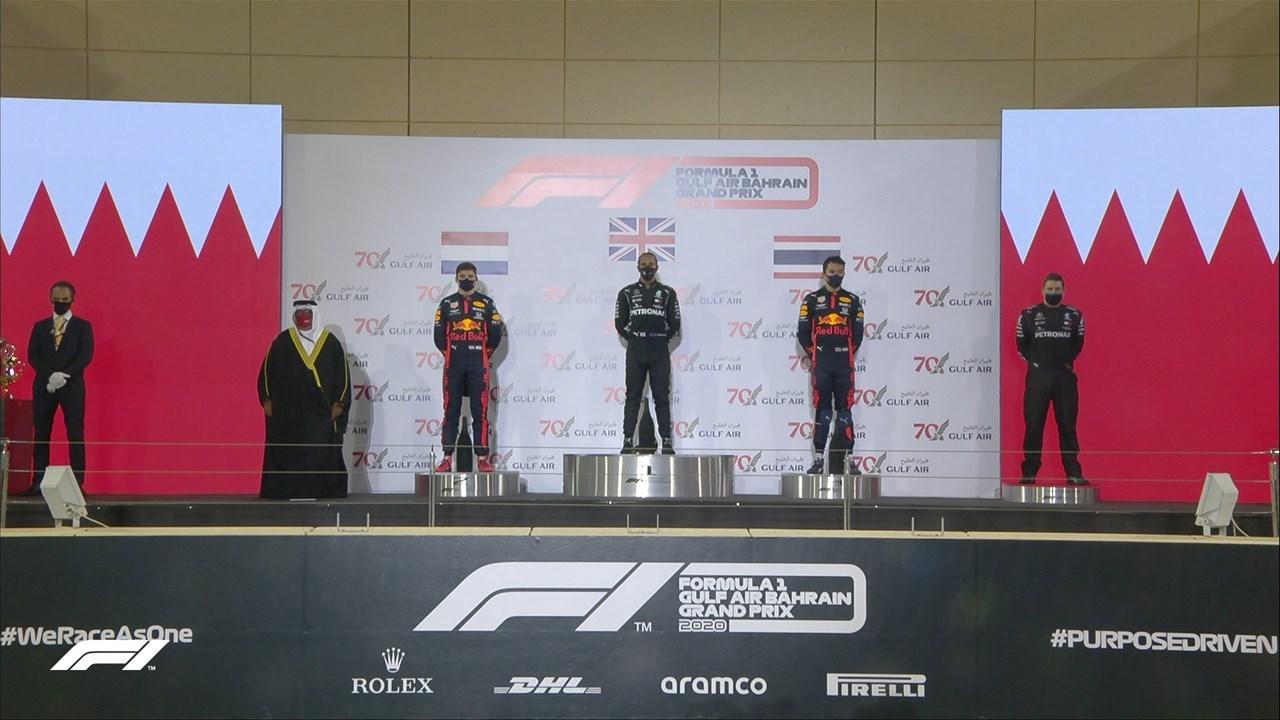 Το βάθρο στο Μπαχρέιν: Hamilton, Verstappen και Albon