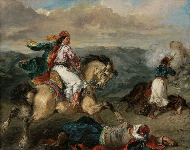 Eugène Delacroix (Ευγένιος Ντελακρουά, 1798-1863) - Επεισόδιο του Ελληνικού Αγώνα, 1856, Λάδι σε μουσαμά - Αγορά του Ελληνικού Δημοσίου με τη συνδρομή των Βασίλη Γουλανδρή και Σταύρου Νιάρχου, αρ. έργου 5618 / Eugène Delacroix (1798-1863