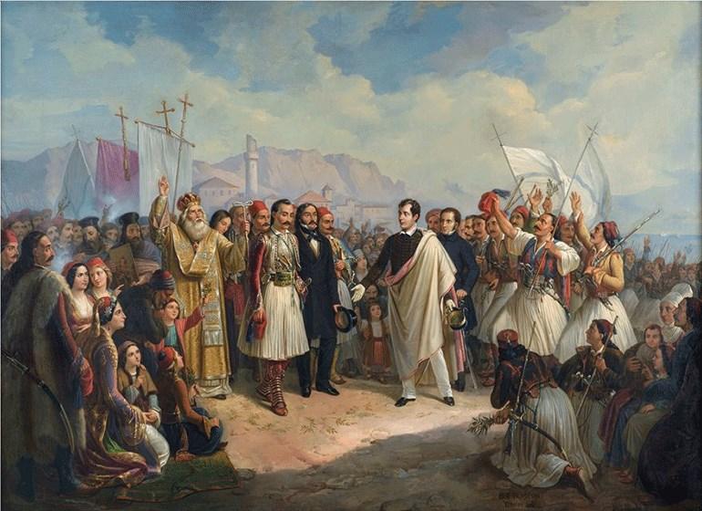 Θεόδωρος Βρυζάκης (1814-1878) - Η υποδοχή του Λόρδου Βύρωνα στο Μεσολόγγι, 1861 Λάδι σε μουσαμά, Δωρεά Πανεπιστημίου, αρ. έργου 1298 / Theodoros Vryzakis (1814-1878) - The Reception of Lord Byron at Missolonghi, 1861, Oil on canvas Donated by the Universi