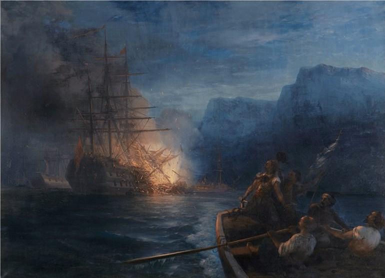 Ivan Aivasowsky (Ιβάν Αϊβαζόφσκυ, 1817-1900) Η πυρπόληση της τουρκικής ναυαρχίδας από τον Κανάρη, 1881, Λάδι σε μουσαμά Δωρεά Πολυτεχνείου, αρ. έργου 277 Ivan Aivasowsky (1817-1900) The Firing of the Turkish Flagship by Kanaris, 1881 Oil on canvas Donated