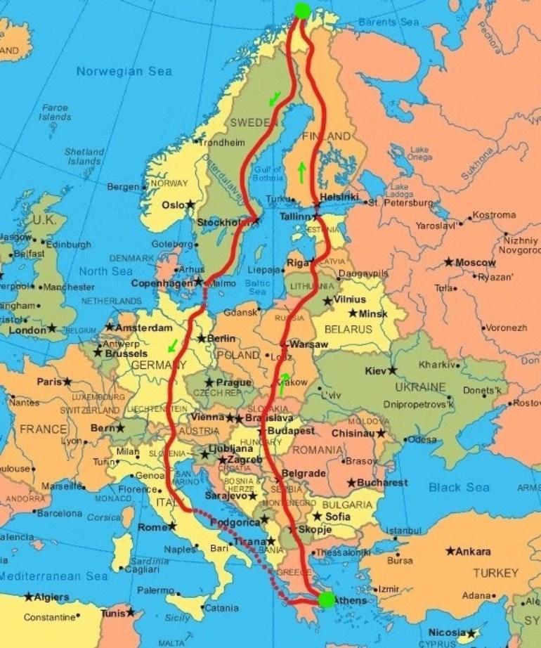 Η διαδρομή του SYM HD300 σε 14 χώρες της Ευρώπης.