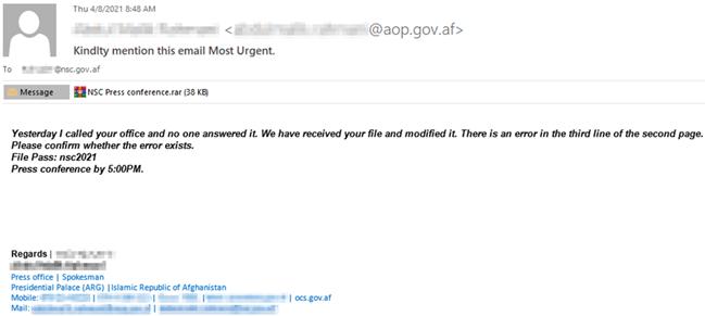 Figure 1. Το κακόβουλο email που στάλθηκε στους υπαλλήλους του Αφγανικού κράτους