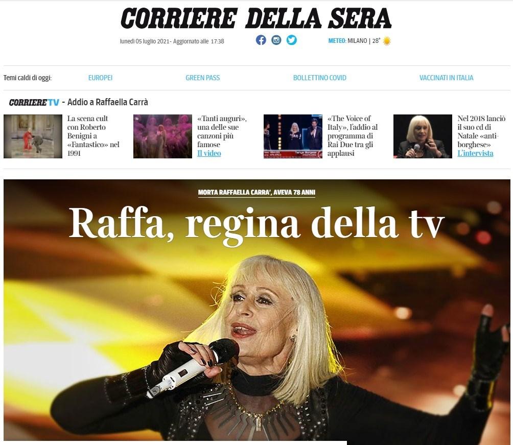 """""""Ραφαέλα, βασίλισσα της τηλεόρασης"""", είναι ο τίτλος της Corriere Della Sera"""