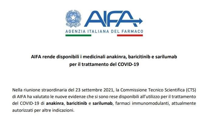 Απόσπασμα από την επίσημη ανακοίνωση του Ιταλικού Οργανισμού Φαρμάκων